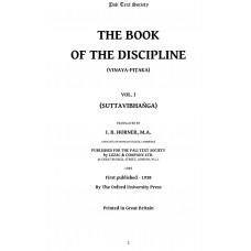 The Book of the Discipline (Vinaya-Pitaka) Vol. I (Suttavibhanga)