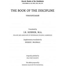 The Book of the Discipline Vinaya Pitakam