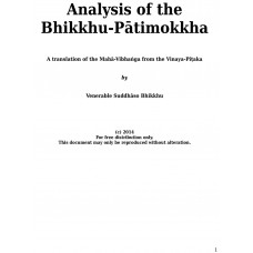 Analysis of the Bhikkhu-Pātimokkha - A translation of the Mahā-Vibhaṅga from the Vinaya-Piṭaka